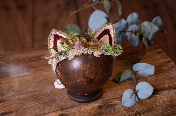 Beige and burgundy fantasy headdress with little ears