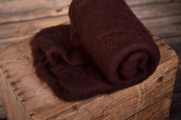Dark brown natural wool blanket