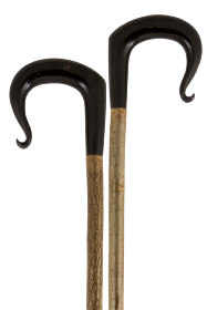 Handmade Buffalo Horn Shepherd's Crook with Curled Nose