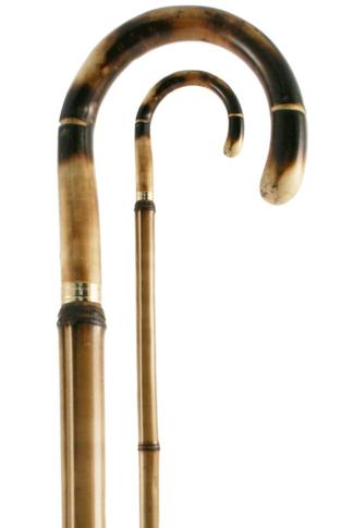 Chestnut Crook Handle with Bamboo Shaft Walking Stick