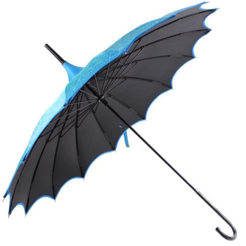 Boutique Patterned UVP Pagoda Umbrella with Scalloped Edge - Teal